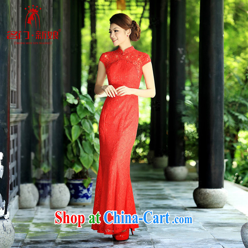 The bride's 2015 new lace cheongsam stylish wedding red toast wedding service long qipao 201 red M