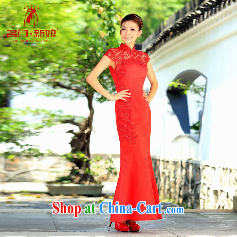 The bride's 2015 new lace cheongsam stylish wedding red toast wedding service long qipao 103 red L