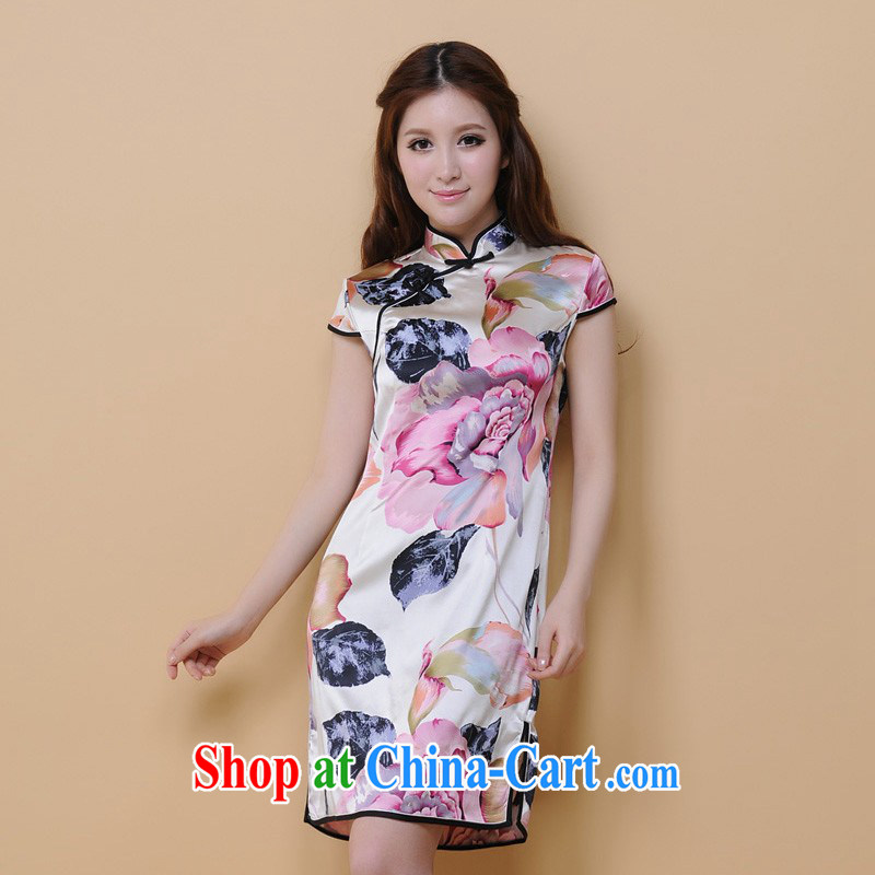 contemporary poetry's summer 2014 New Products 100% dos santos Ms. silk silk retro fashion textile cheongsam dress qipao Q 22,200 pink XXL