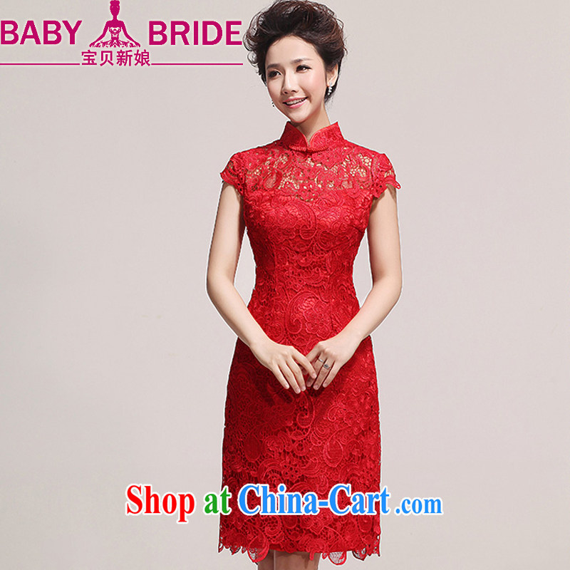 Baby bridal new dresses bridal wedding dress retro improved stylish summer short red bows outfit serving 76 red XXL