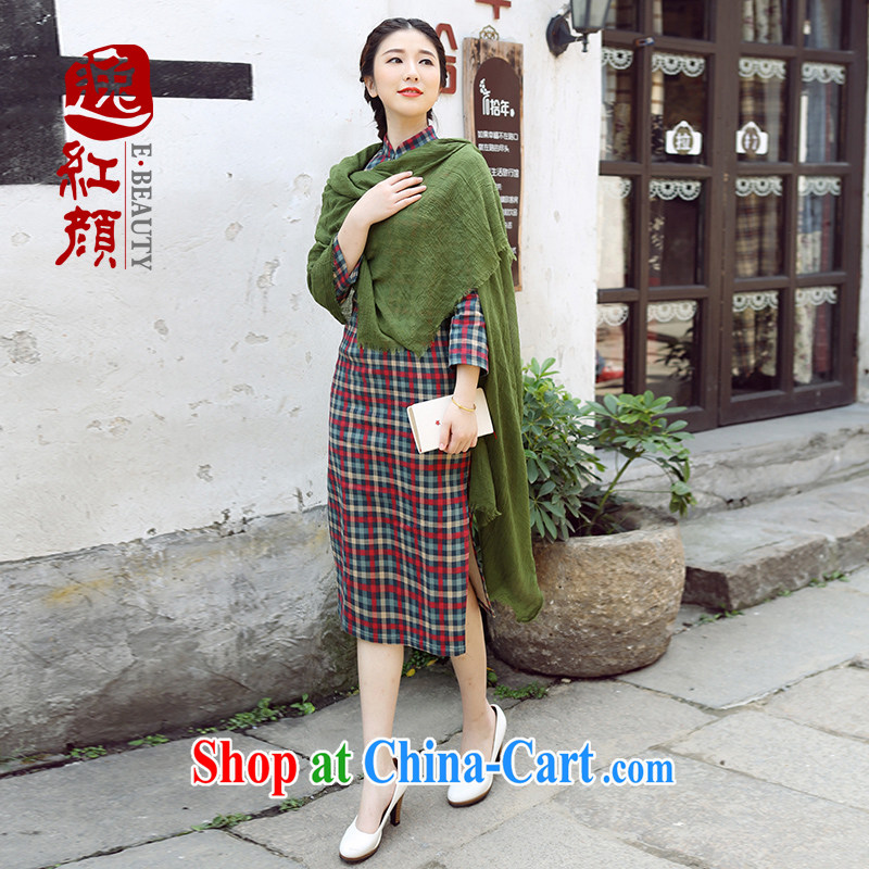 The proverbial hero once and for all as soon as possible if the water fall with improved cheongsam dress Stylish retro flocking checkered long cheongsam floral 2 XL