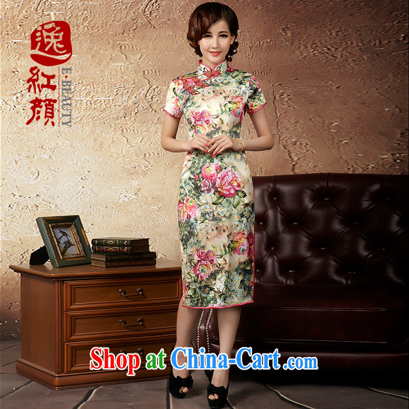 The proverbial hero once and for all -- flowers for improved Stylish retro long cheongsam with autumn 2014 new improved cheongsam dress suit 2 XL