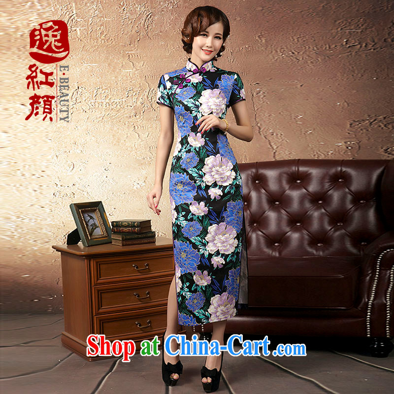 Once the proverbial hero -- blue Peony improved Stylish retro long cheongsam Korea 2015 spring and summer new improved cheongsam dress suit 2 XL