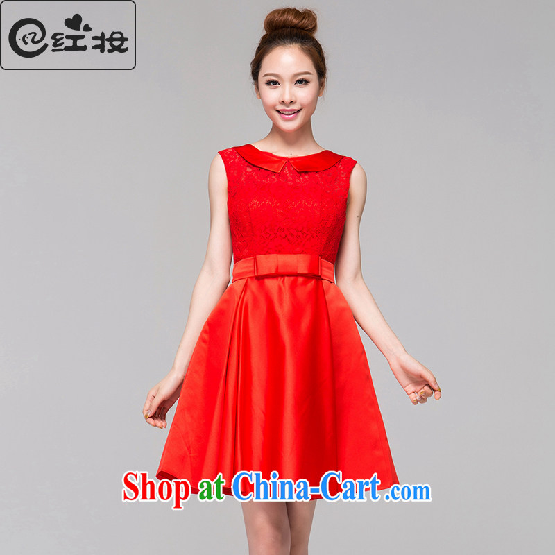 Recall that the red makeup spring and summer new dolls for bow-tie-waist A word cheongsam dress improved bows Service back door service Q 13,658 red M
