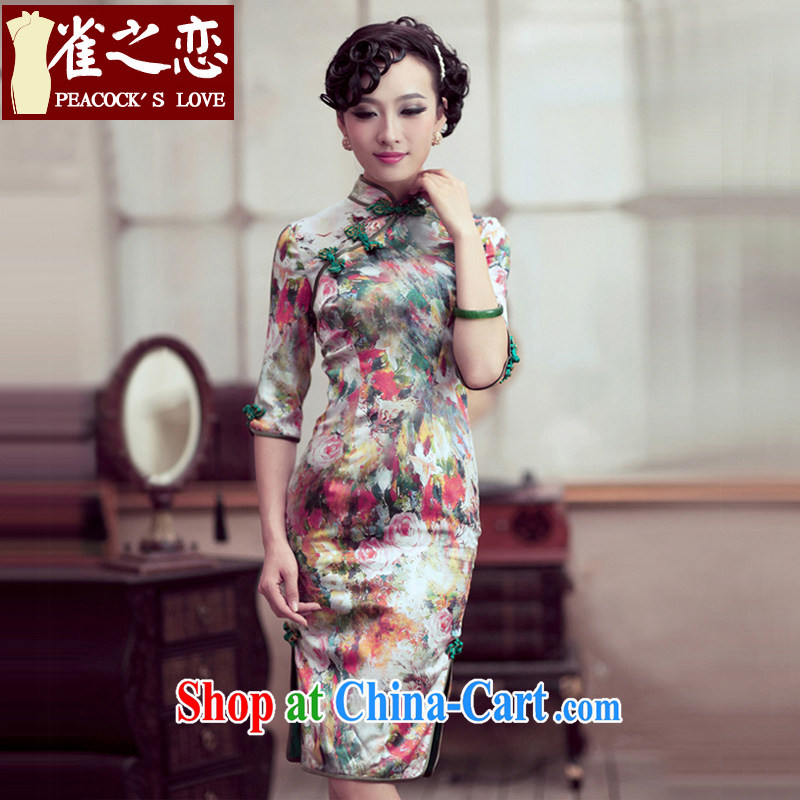 Bird lovers of floral impression 2015 spring new retro sauna silk Silk Cheongsam dress QD 194 figure XXXL _original qipao_