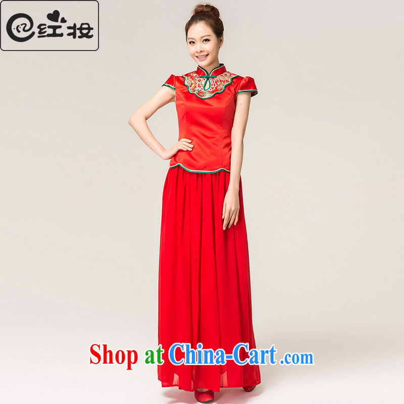Recall that the red makeup spring and summer rich Peony stylish long cheongsam Chinese beauty brides with marriage toast clothing cheongsam dress Q 13,609 red XL
