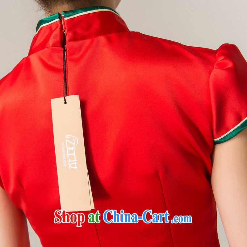 Recall that the red makeup spring and summer rich Peony stylish long cheongsam Chinese beauty brides with marriage toast clothing cheongsam dress Q 13,609 red XL, recalling that the red makeup, shopping on the Internet