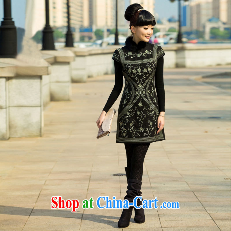 once and for all elections as soon as possible fatally jealous world snow spring loaded luxurious hair collar cheongsam dress China wind female skirt black S