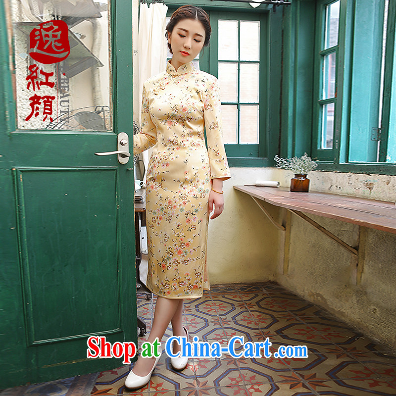 The proverbial hero once and for all -- volunteered of Silk Cheongsam new upscale Silk Cheongsam dress improved stylish Autumn with pale yellow L