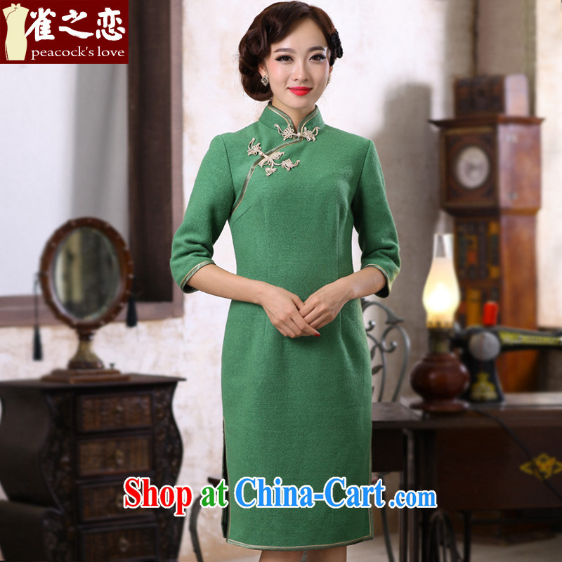 Bird lovers of hiding the autumn and spring 2015, new improved stylish plain colors dresses? QC 395 green L
