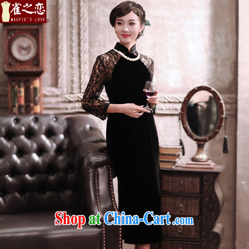 Bird lovers of Terracotta Hyatt 2015 spring new improved lace stitching qipao dresses long, plush robes QC 373 black L - pre-sale 7 days