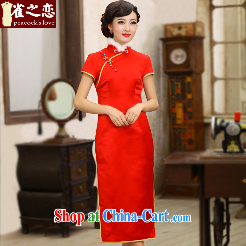Birds love the logo, 2013 winter clothes new, thick red long stylish improved cheongsam QC 397 red XL