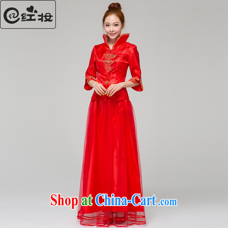 Recall that the red makeup spring and summer long-sleeved dresses, satin bows dress long marriages red toast Q serving 13,634 red XL