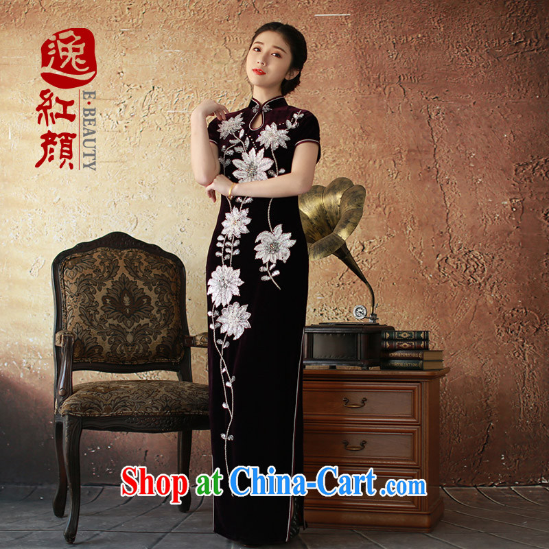 The proverbial hero once and for all as soon as possible would be a spring loaded new women with long, high quality gold velour cheongsam dress retro improved cheongsam dress purple XL