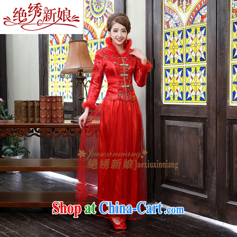 2014 new only American Beauty long improved stylish winter clothes retro long cultivating improved stylish winter, qipao FQP 8 red XL Suzhou shipping