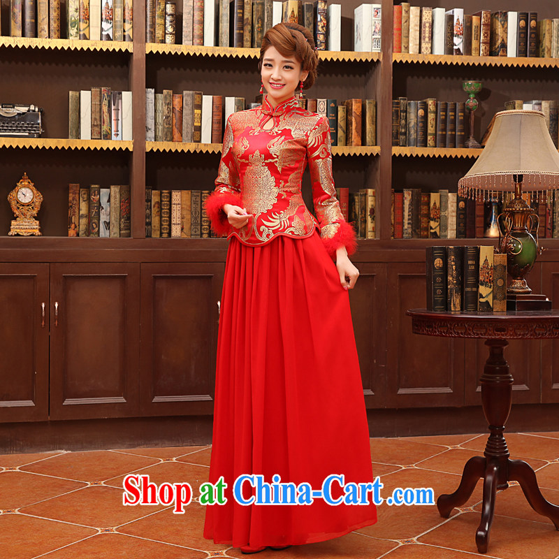 There is embroidery bridal 2015 winter new toast serving thick retro style long-sleeved Chinese qipao home the cotton style XXL Suzhou shipping