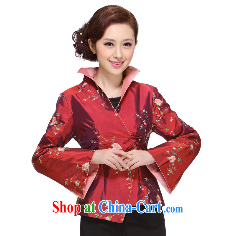 Tang Women's clothes fall 2013 with new, older MOM beauty T-shirt jacket Chinese Tang replace M - 004 deep red 3 XL