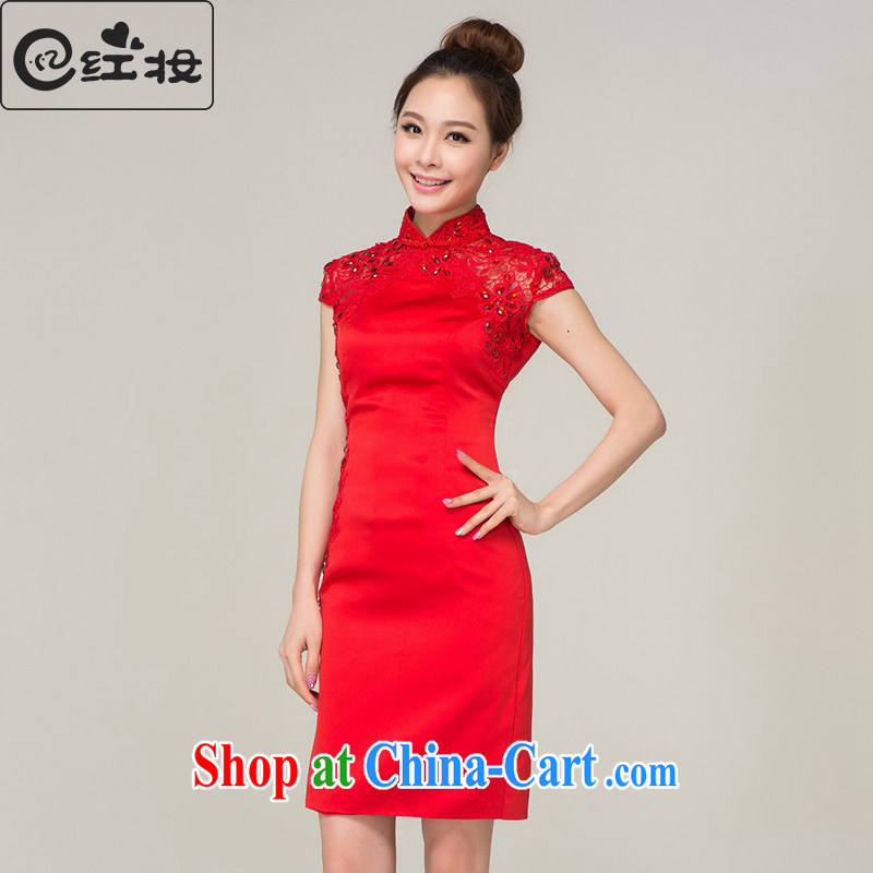Recall that the red makeup spring and summer Chinese package shoulder short red lace wedding dresses bridal toast clothing wedding dress Q 13,620 red M
