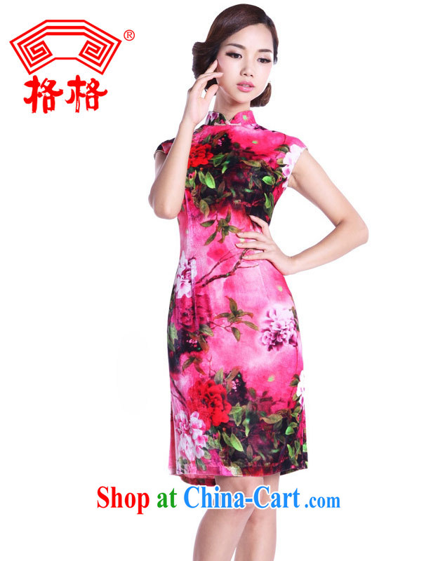 Princess dresses and 2014 new wool painted pink Peony�100% real silk cheongsam dress girl dress dress pink 5 XL