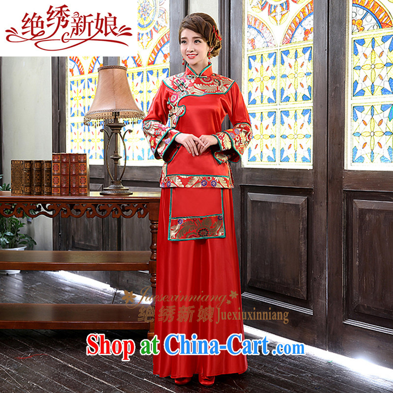 There is embroidery bridal show reel service antique Chinese Dress package bows service 2015 New Red L Suzhou shipping