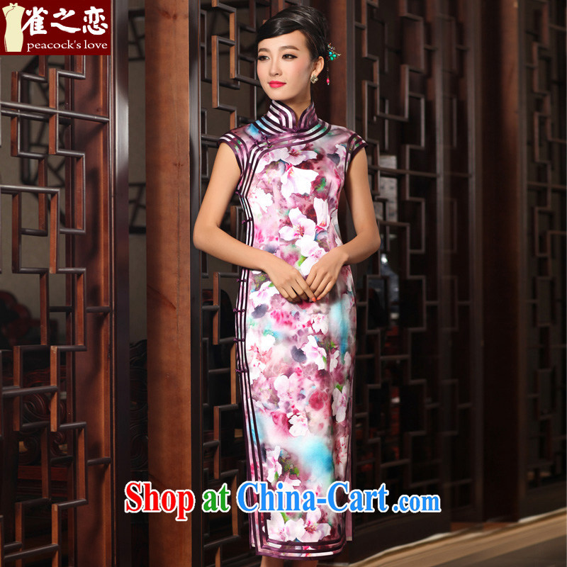 Birds Love Original dream traditional sepia layer 3 edge long Crescent cuff Silk Cheongsam QD 407 fancy XL
