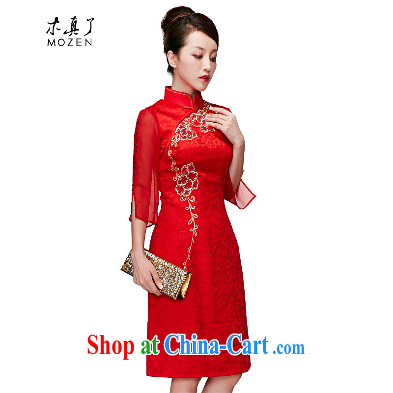 Wood is really the 2015 spring new embroidery bridal cheongsam dress 7 cuff dress female package mail 01,204 05 red M