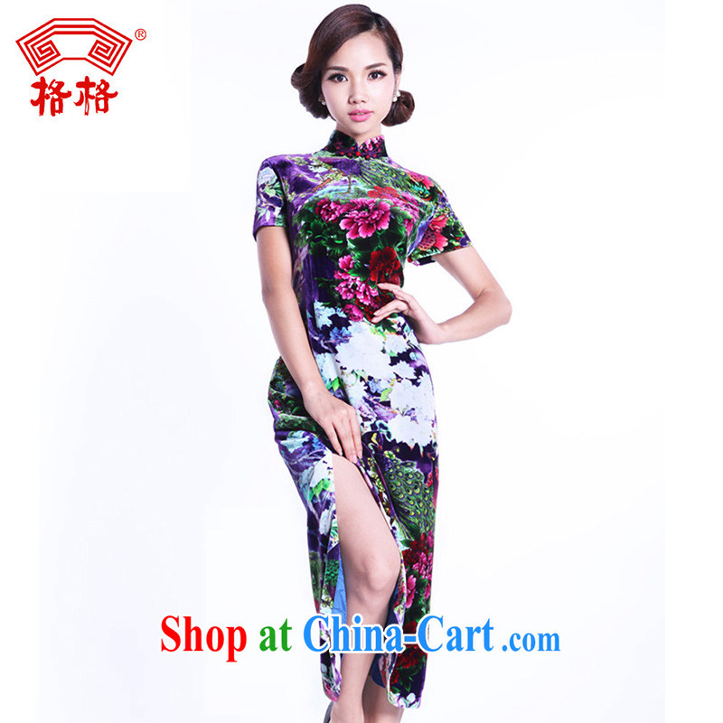 Princess genuine 2013 new colorful traditional costumes royal blue Peacock Chinese Ethnic Wind Silk Cheongsam light blue 7 XL
