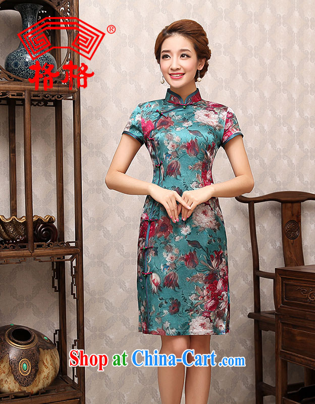 Princess 2014 new stylish suit mature sexy recalled that proverbial hero bilateral cheongsam dress light blue 2 XL