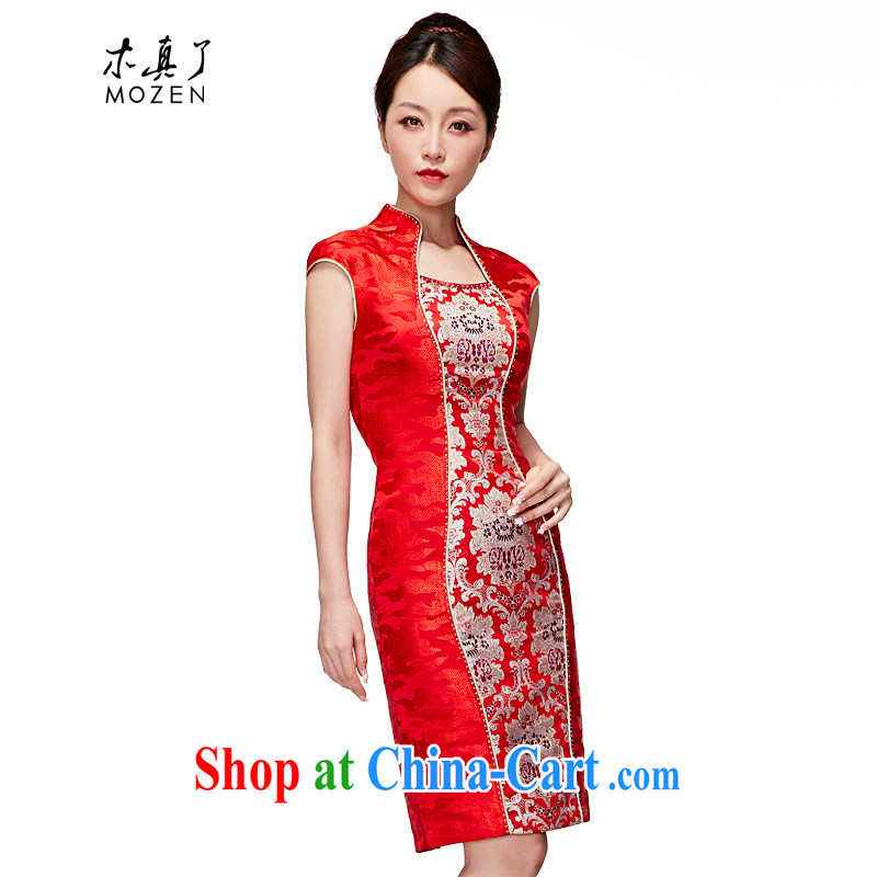 Wood is really the 2015 spring and summer new Chinese wedding dress embroidered bridal cheongsam dress style dresses 21,891 05 red XXL