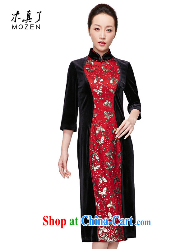 Wood is really the 2015 spring new long elegant stitching original dress qipao package mail 22,021 01 black XXXL