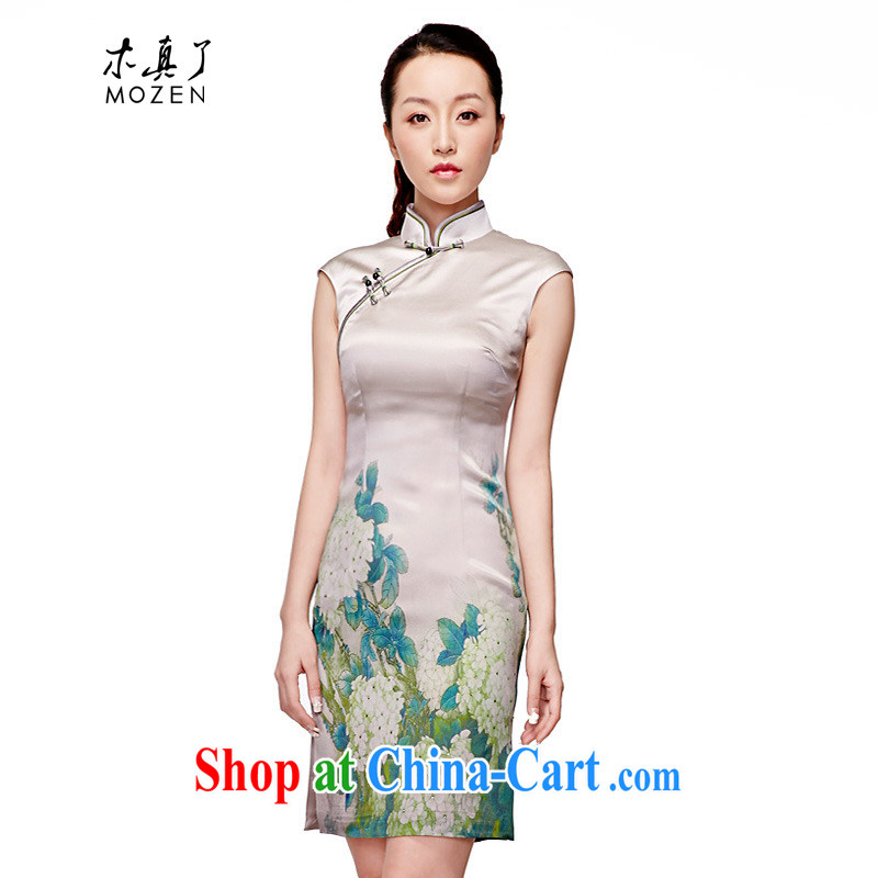 Wood is really the 2015 spring and summer New Silk painting elegant short cheongsam stylish Chinese Dress girl 11,519 15 green XXL