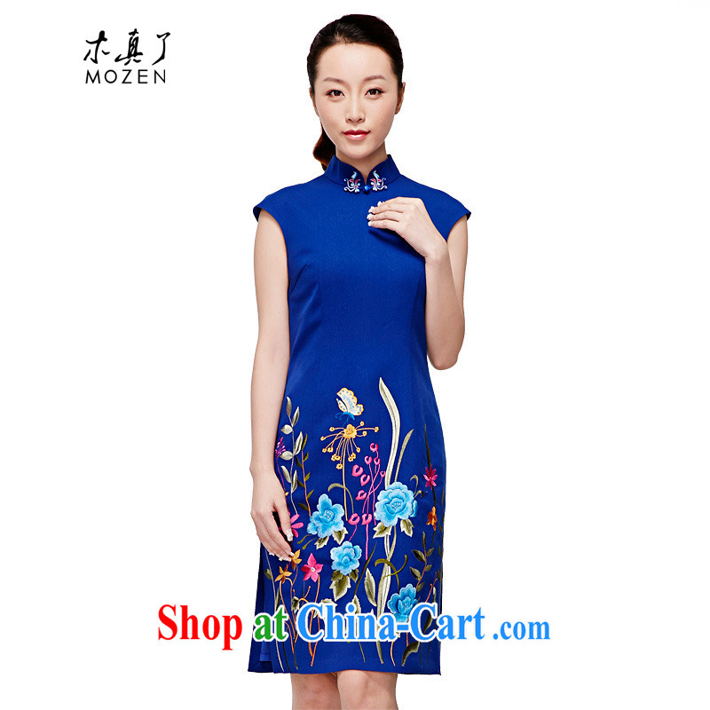 Wood is really the 2015 spring and summer new dresses blue embroidered Chinese improved cheongsam dress style dress 32,346 11 blue XXL (B)