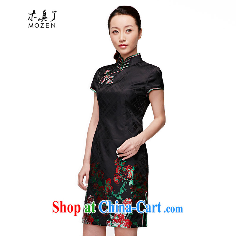 Wood is really the 2015 spring and summer new Chinese retro piping short-sleeved dresses and elegant disc flower dress package mail 22,039 01 black L