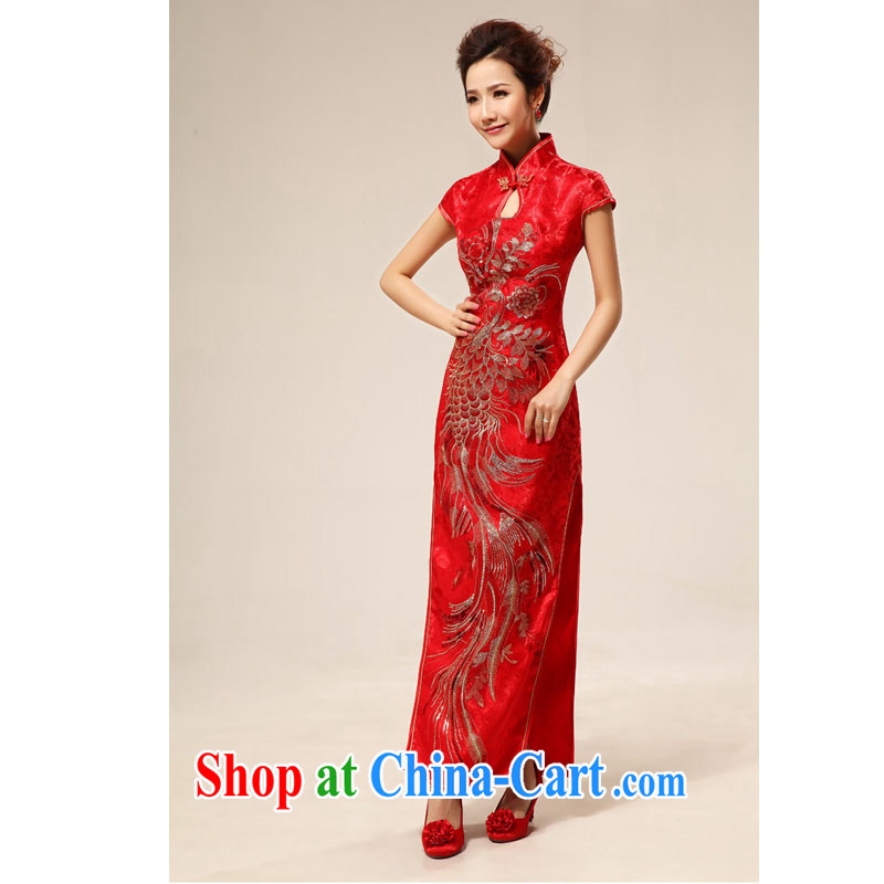 Optimize Hung-summer wedding dresses Chinese antique dresses bridal toast serving long cheongsam Hotel Hospitality etiquette cheongsam dress XS 7130 red XXL
