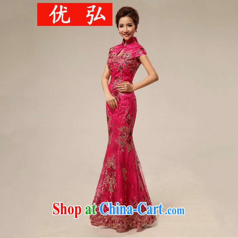 Optimize Hong Chinese antique dresses bridal toast serving long cheongsam Hotel Hospitality etiquette cheongsam dress summer wedding dresses XS 7129 rose red XXL
