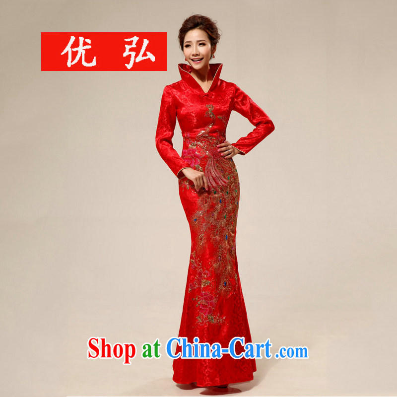 Optimize Hung-New retro style lace Long-Sleeve marriages XS outfit 7126 red M