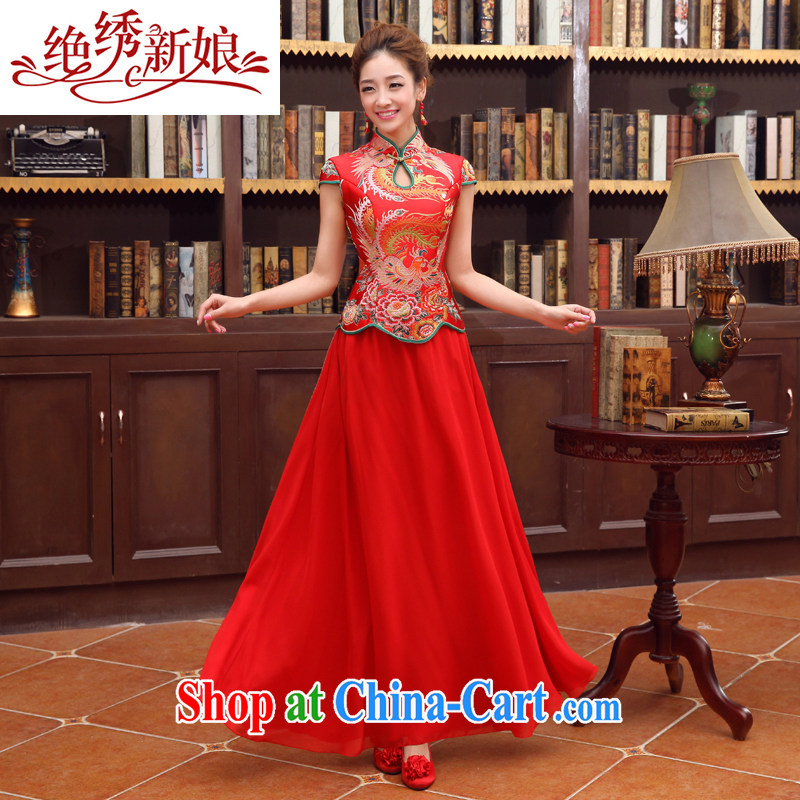 No bride embroidered dragon robe red improved retro bridal dresses wedding dresses serving toast wedding short-sleeve bridal load custom red XXL Suzhou shipping