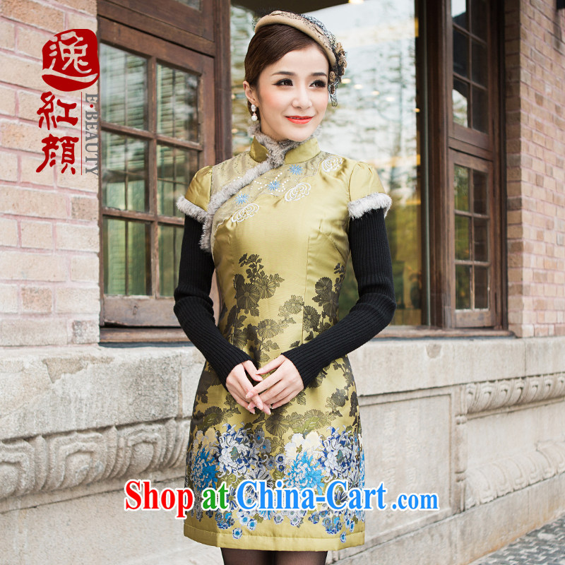 The proverbial hero once and for all -- China 2015 spring dresses new improved retro fall and winter fitted with cotton cheongsam dress green L