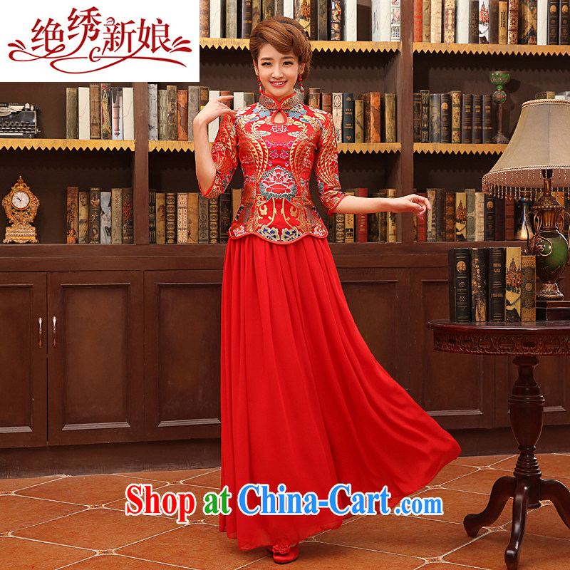 There is embroidery bridal 2014 New Red bridal wedding dress improved stylish retro long cheongsam dress uniform toast QP - 313 red set is not returned.
