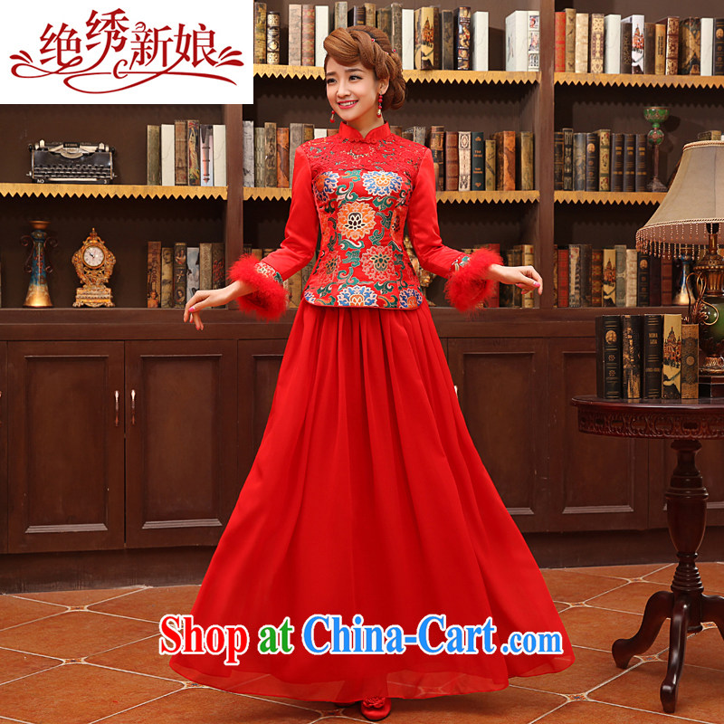 There is embroidery bridal long autumn warm thick the basket, festive red cheongsam bridal toast service QP - 330 red S Suzhou shipping