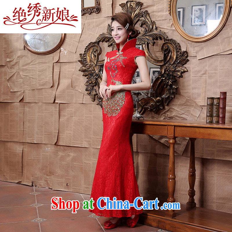 There is embroidery bridal 2015 new lace cheongsam stylish wedding red toast wedding service long cheongsam red set is not returned.