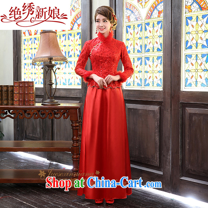 2015 new, antique wedding dresses winter long-sleeved warm bride toast serving red dress QP - 311 red made final
