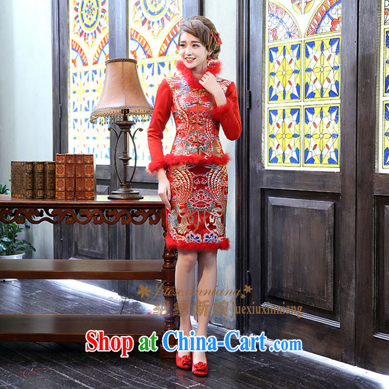 Bride's new 2013 winter clothes and stylish with a short, long-sleeved folder toast cotton dress winter wedding dresses QP - 333 red made is not returned.
