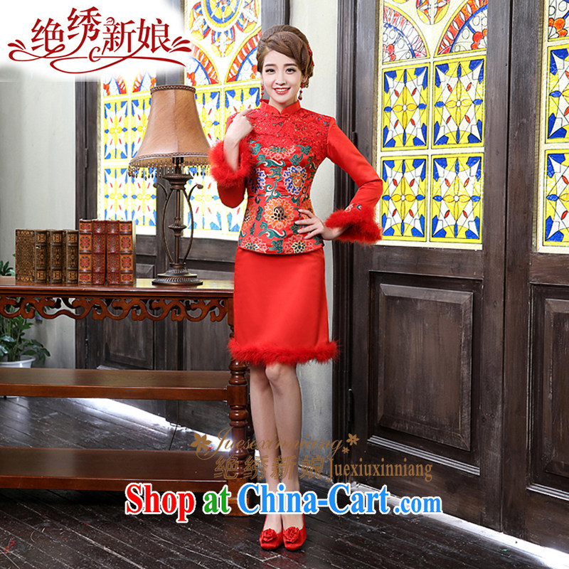 winter clothes 2015 new long-sleeved bridal dresses wedding autumn and winter, short, red bows clothes red made final