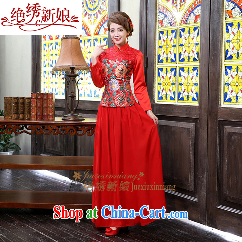 Wedding dress 2015 new toast serving long-sleeved bridal dresses long autumn and winter clothing unique design QP - 331 red made final
