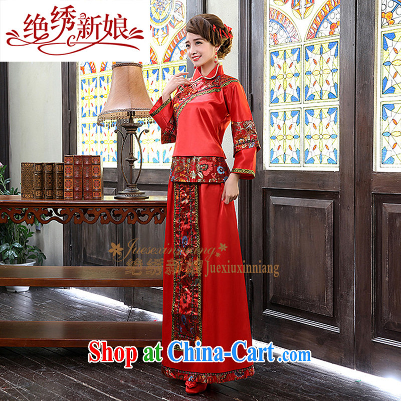 There is embroidery bridal antique Chinese wedding toast serving long, Su-kimono 2013 new QP - 337 red made is not returned.