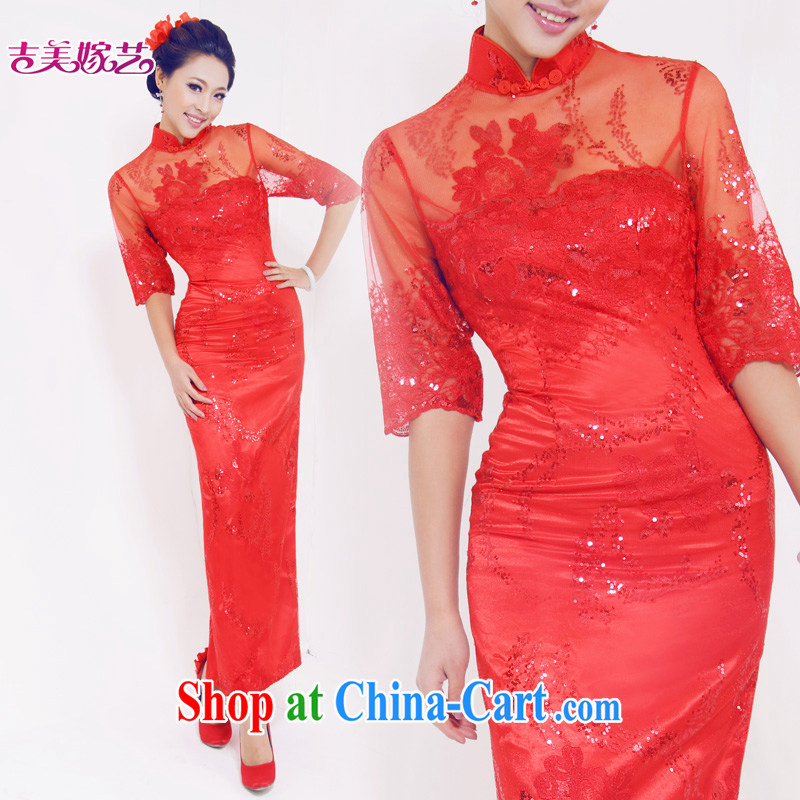 Vladimir Putin, and the wedding dresses Jimmy married arts 2015 new bag shoulder Chinese qipao long QP 620 bridal dresses red L