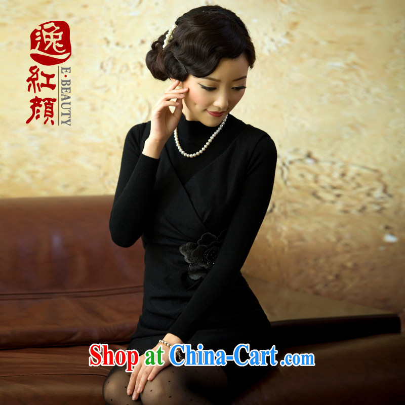 The proverbial hero once and for all -- cherry field 2015 spring and summer fashion improved retro short, thick robes black S