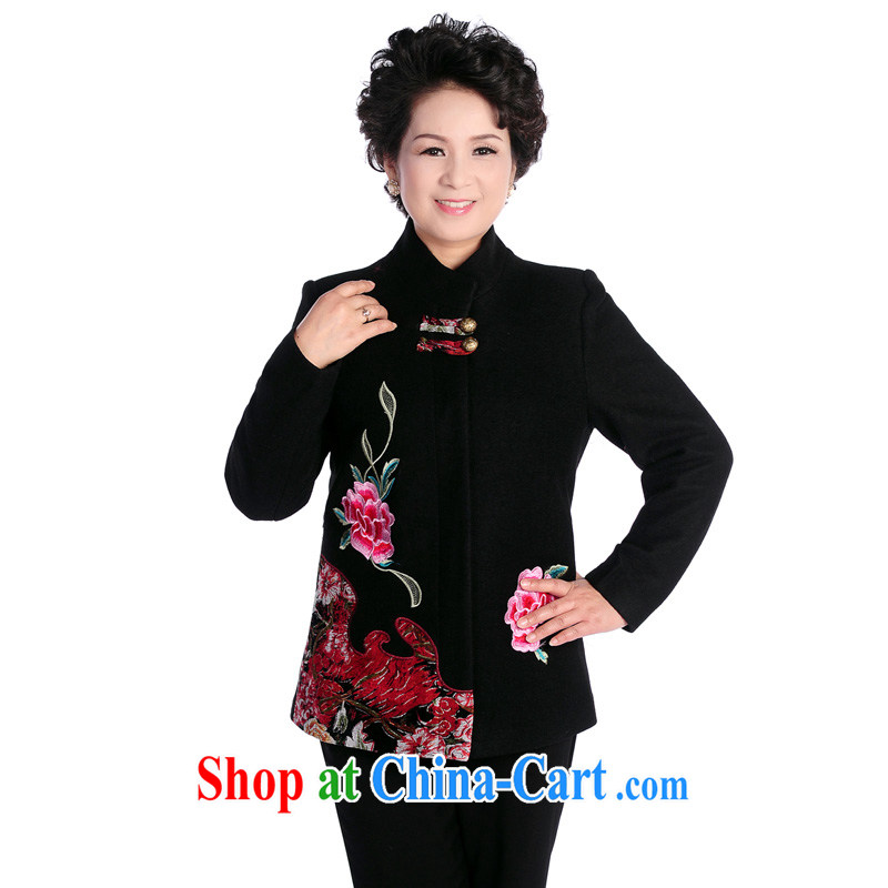 To Simitis, older women mother spring loaded new stylish and relaxed Tang fitted cardigan jacket T - fear of the collar Tang black 4XL