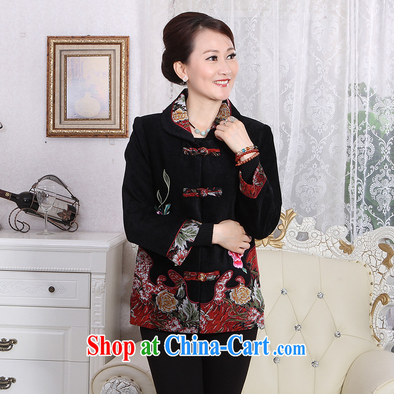 To Simitis 2014 spring New Products ladies, older women who turned the shirt embroidered Tang jackets Z - Dream poem stunning new Tang black XXXL